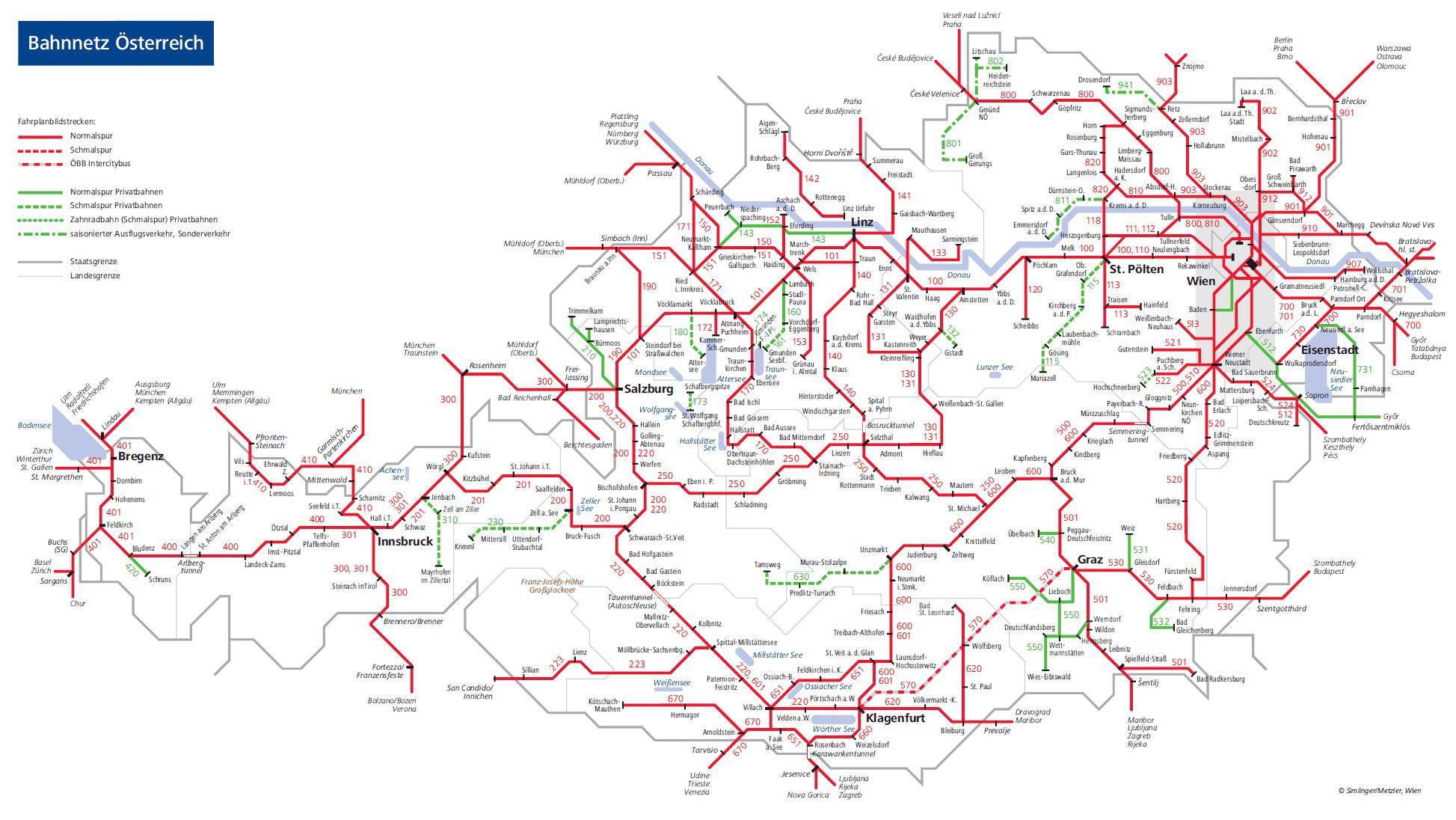 Itavalta Juna Kartta Obb Itavallan Rautateiden Kartta Lansi