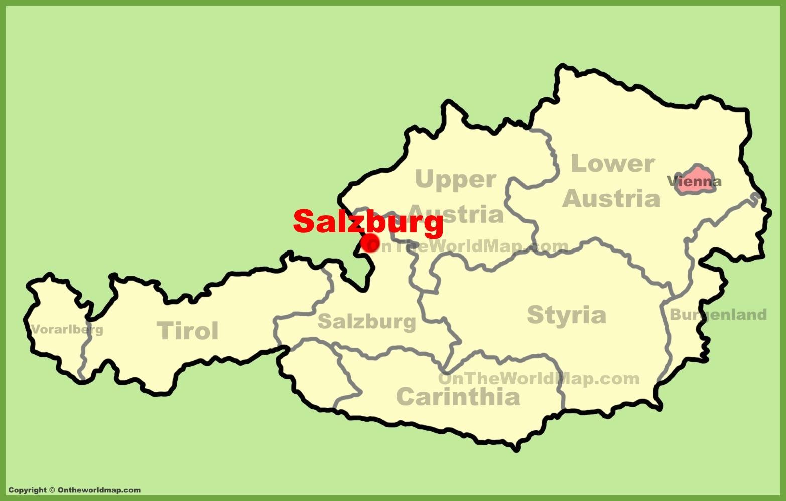 Salzburg Itavalta Kartta Itavalta Salzburg Kartta Lansi